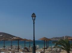 Uitzicht op zee vanaf strand Ios