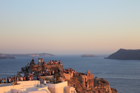 Uitzicht Santorini zonsondergand strandvakantie Griekenland