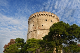 Building of white tower in Greece, Thessaloniki