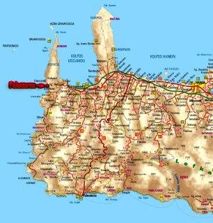 kaart.Falassarna mooi strand op Kreta